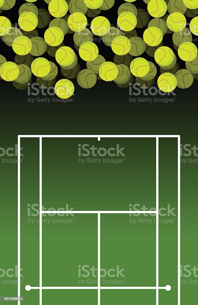 Tennis court and ball. Lot of balls. Tennis background. Sports...