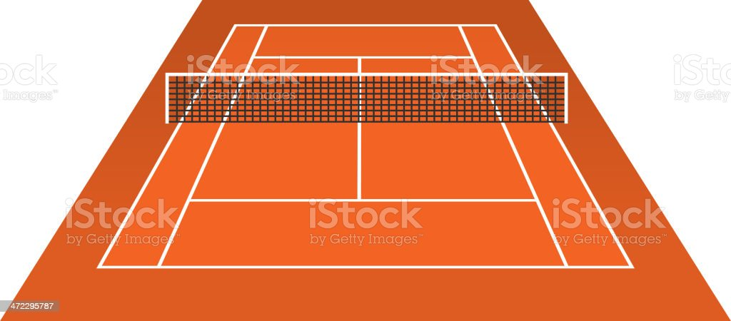 Tennis Court (clay) brick dust stadium vector art illustration