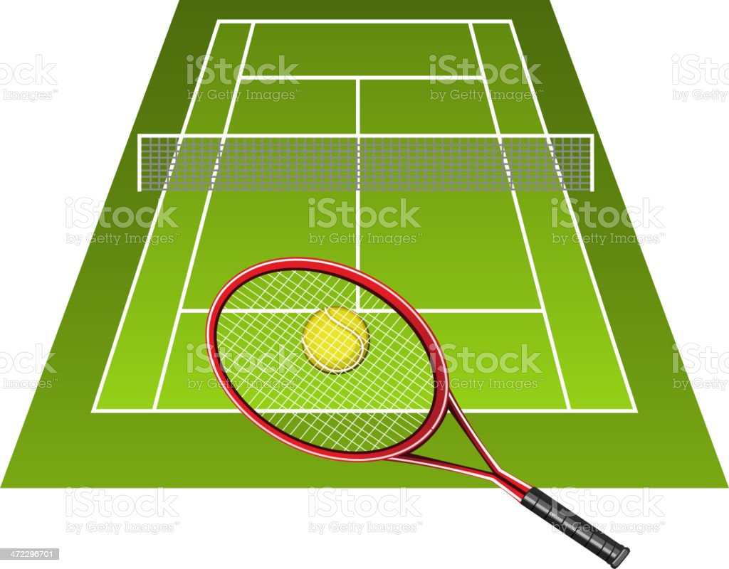 Tennis court open (clay) - vector illustration vector art illustration