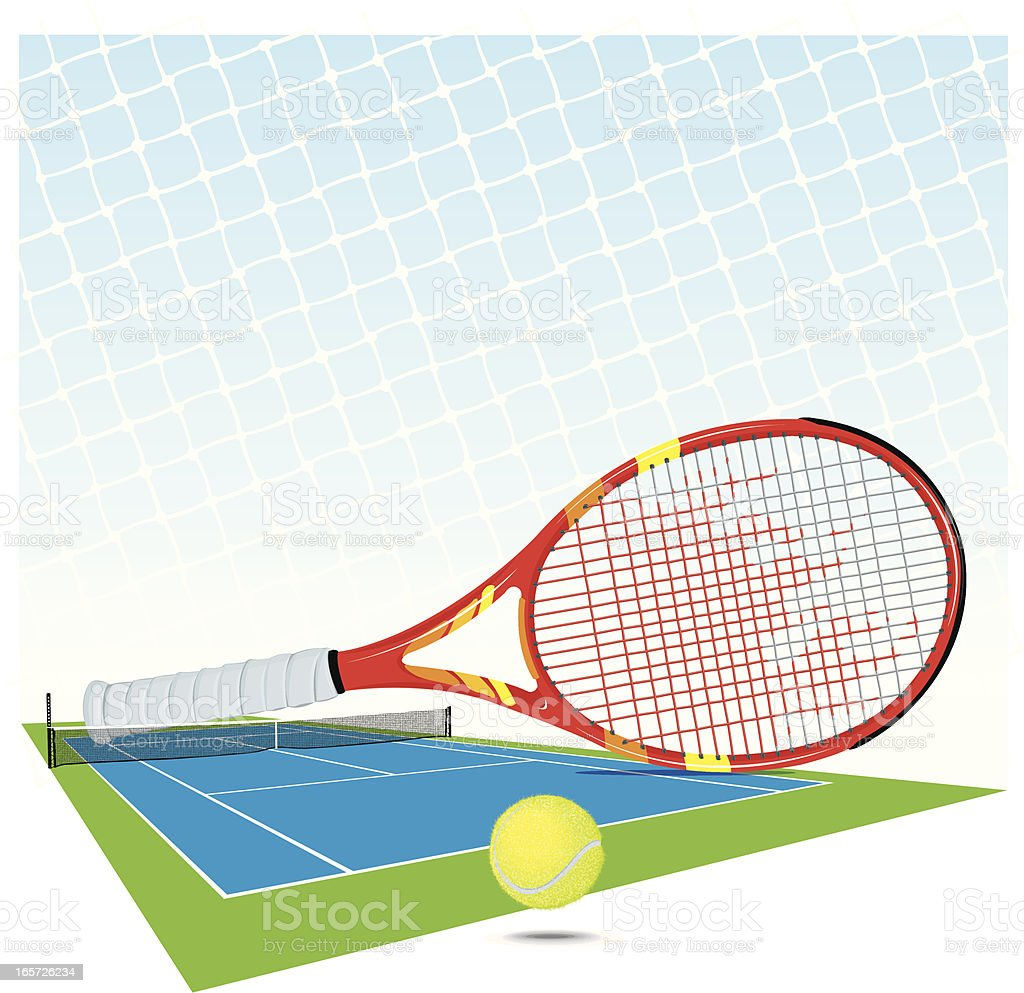 Tennis Court, Sports Racket, Ball and Net Background vector art illustration