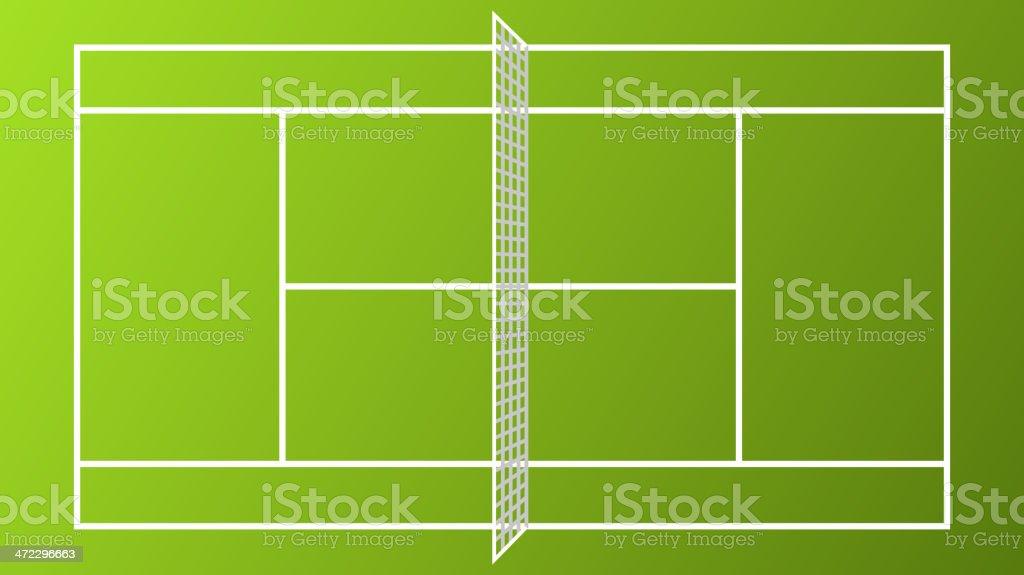 Tennis Court Vibrant Color Clay White Net vector art illustration