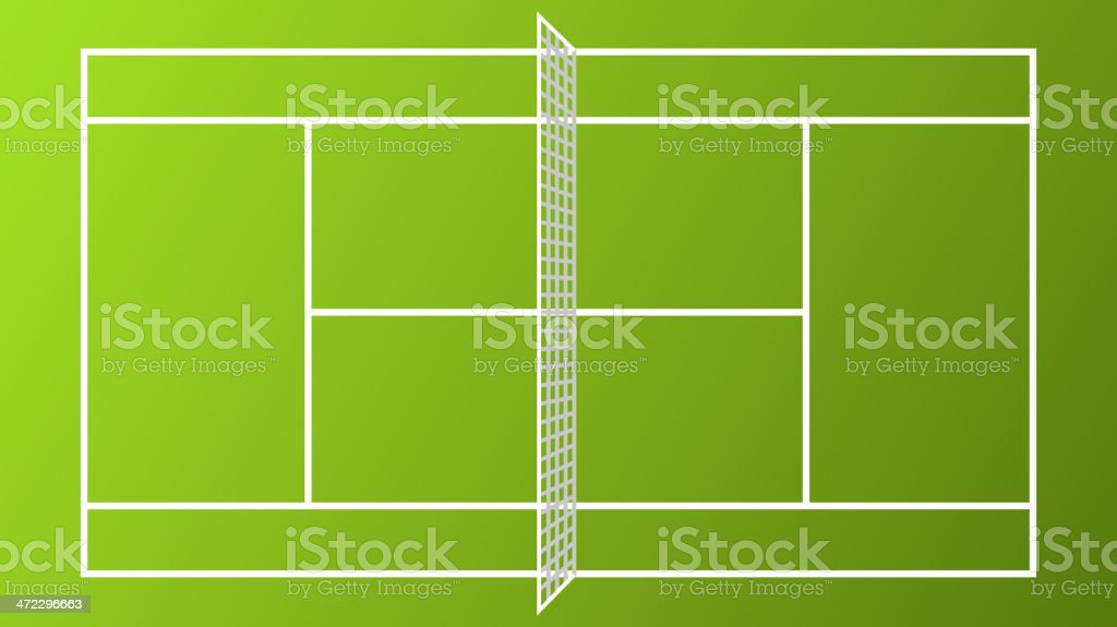 Tennis Court Vibrant Color Clay White Net vector art illustration