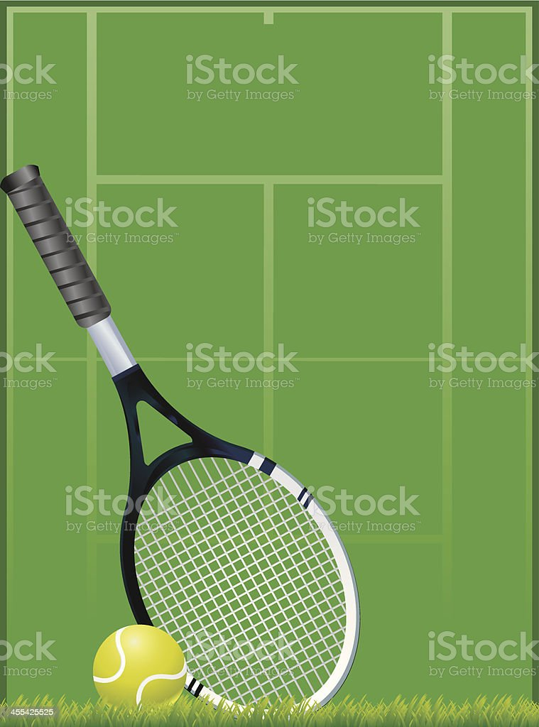 Tennis Court with Racket and Ball vector art illustration