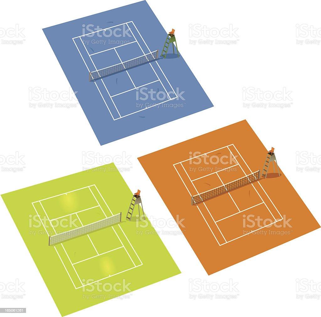 Tennis Courts vector art illustration