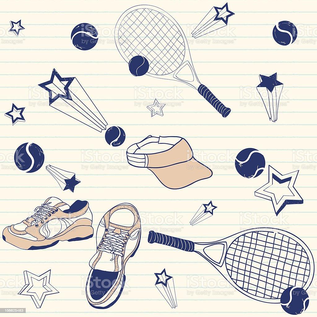 Tennis doodles royalty-free stock vector art