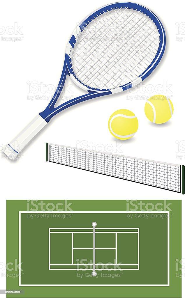 Tennis elements vector art illustration