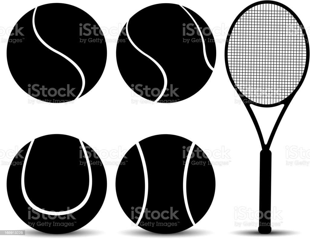 tennis equipment silhouette vector art illustration