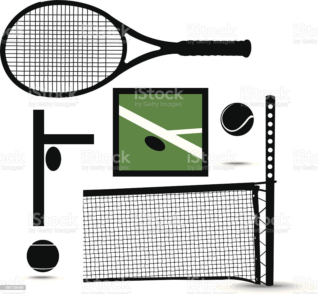 Tennis Equipment Sport Racket, Ball, Net and Line Call royalty-free stock vector art