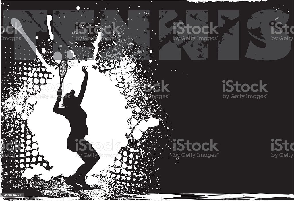Tennis Female Grunge Background vector art illustration