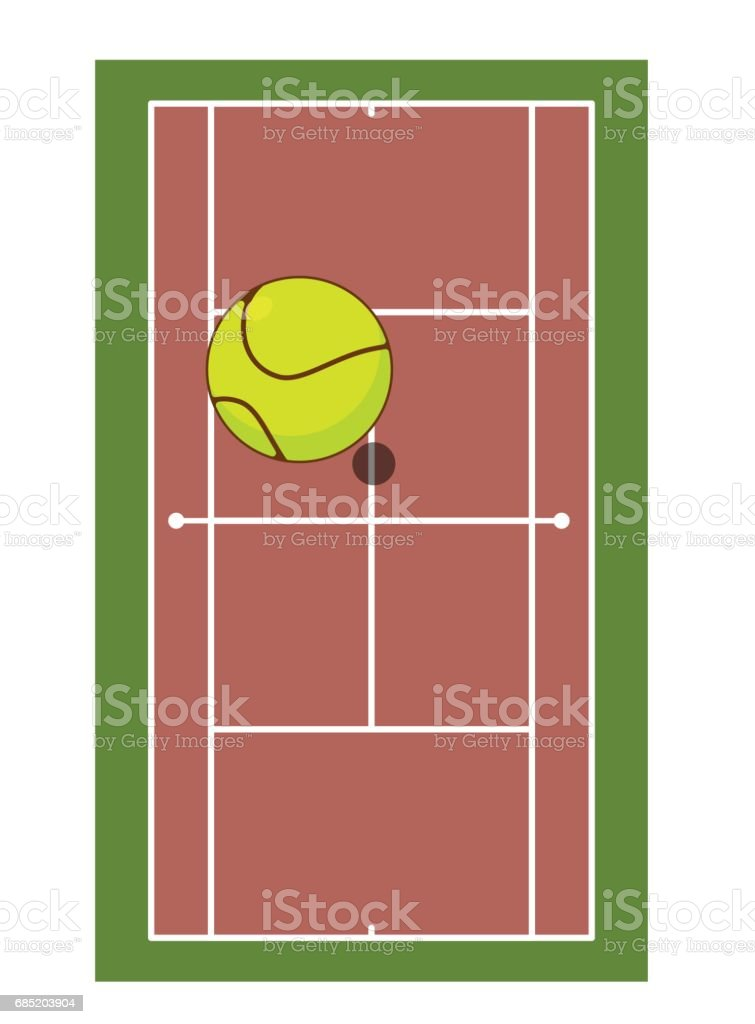Tennis field and ball. Game of tennis. Game ball high above ground vector art illustration