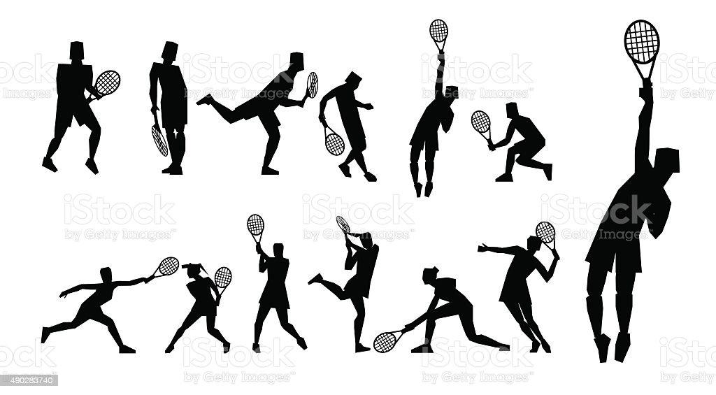 Tennis figure peoples with tennis racket set. vector art illustration