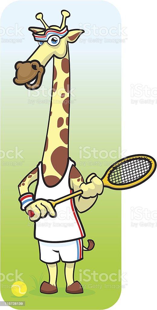 Tennis Giraffe vector art illustration
