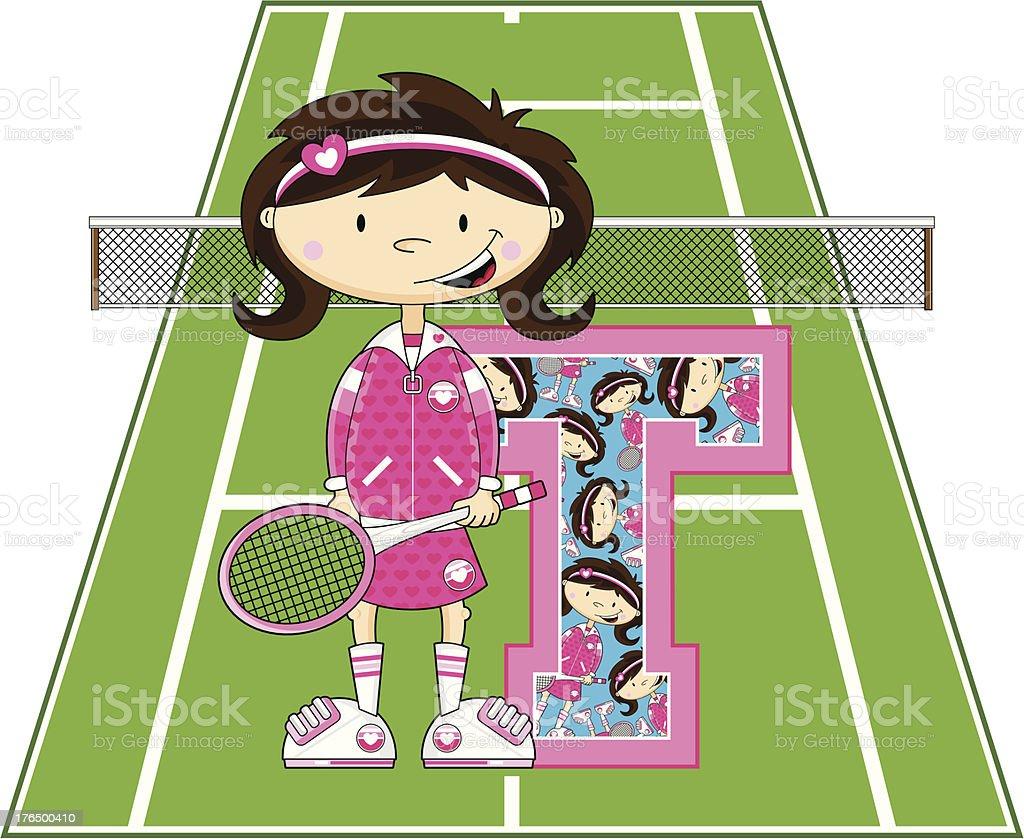 Tennis Girl Learning Letter T royalty-free stock vector art