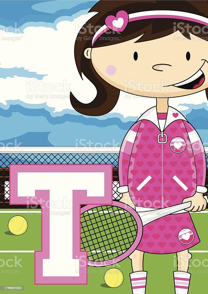 Tennis Girl Learning Letter T vector art illustration