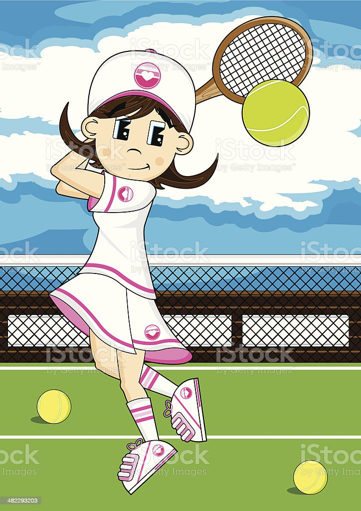 Tennis Girl on Court royalty-free stock vector art