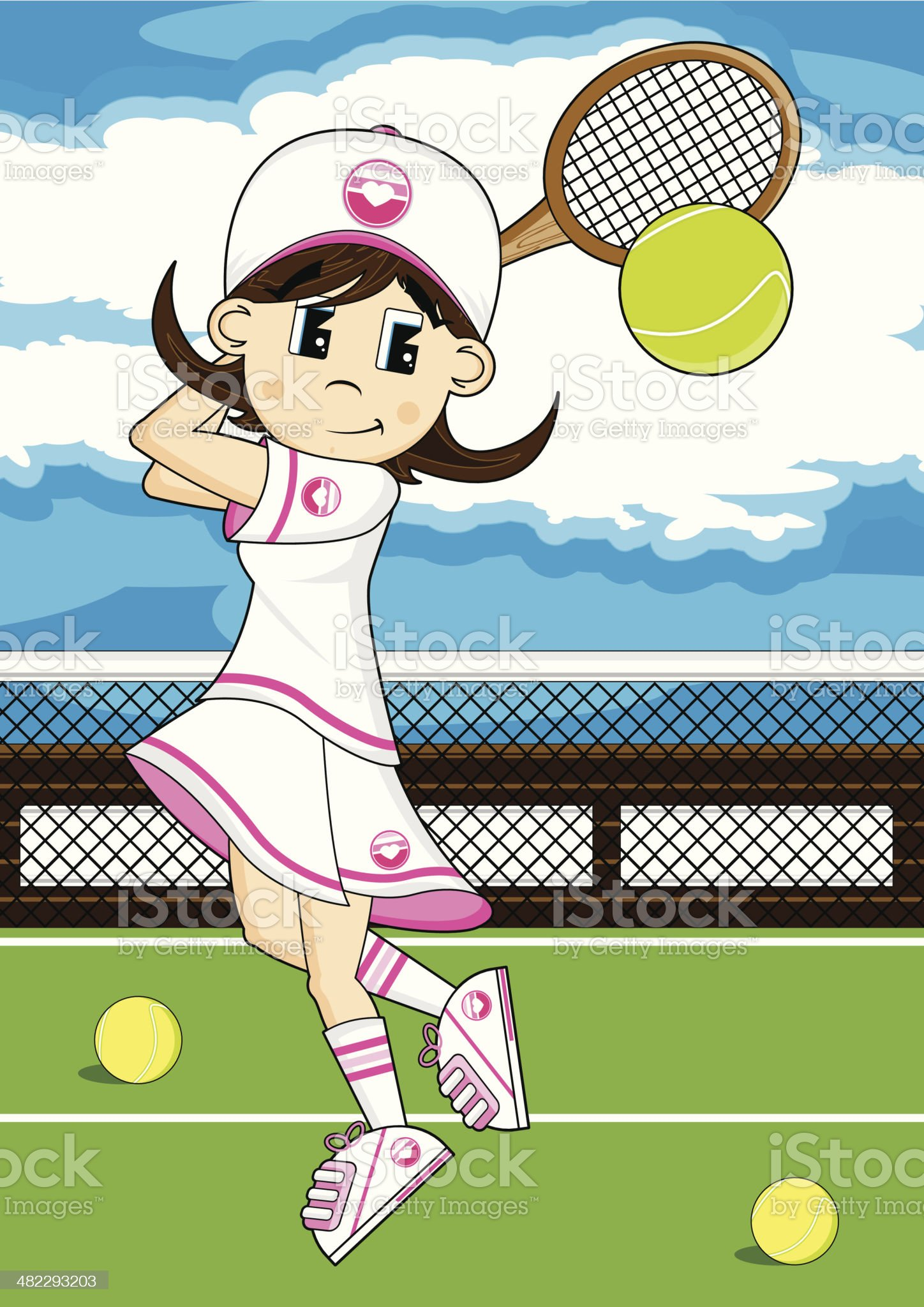 Tennis Girl on Court royalty-free stock vector art