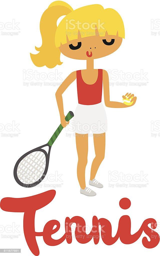 Tennis Girl vector art illustration
