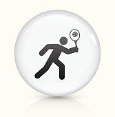 Tennis icon on white round vector button