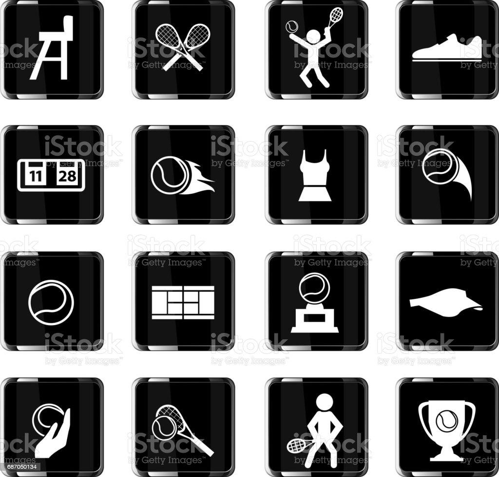 tennis icon set vector art illustration