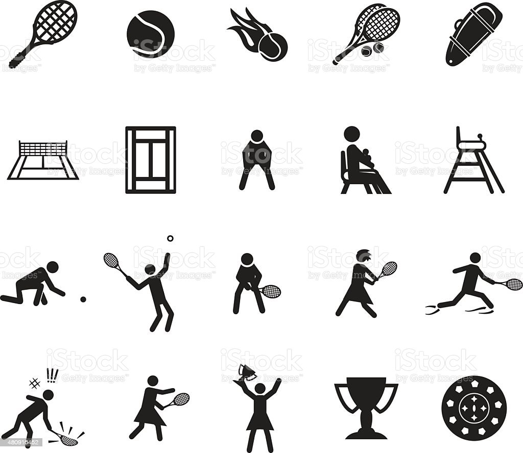 Tennis icons set vector art illustration