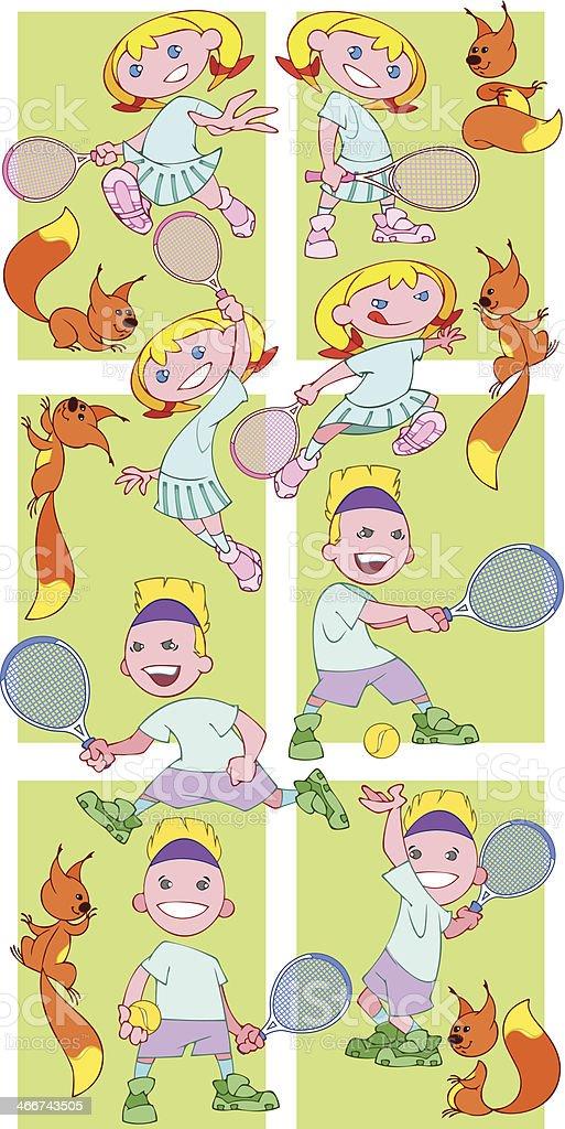 Tennis juniors royalty-free stock vector art