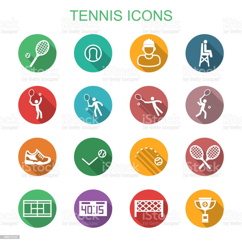 tennis long shadow icons vector art illustration