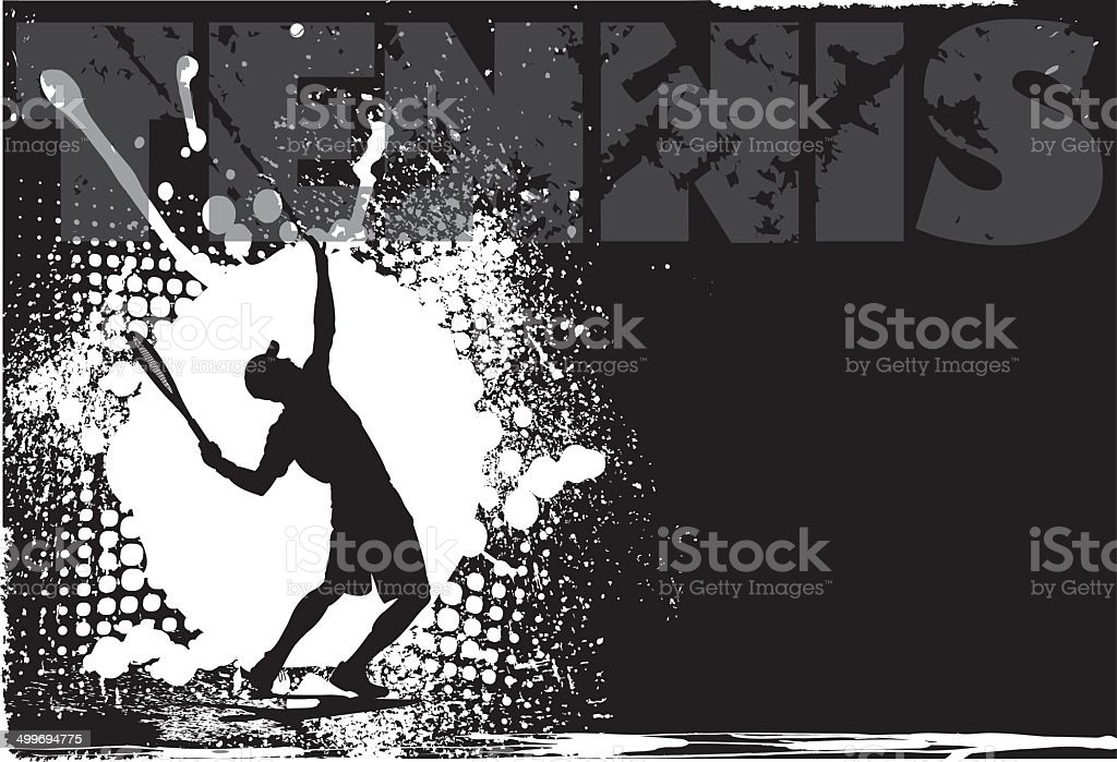 Tennis Male Grunge Background vector art illustration