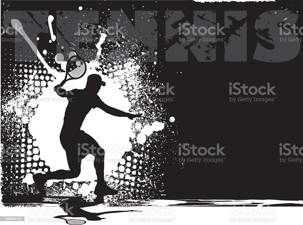 Tennis Male Grunge Background vector art illustration