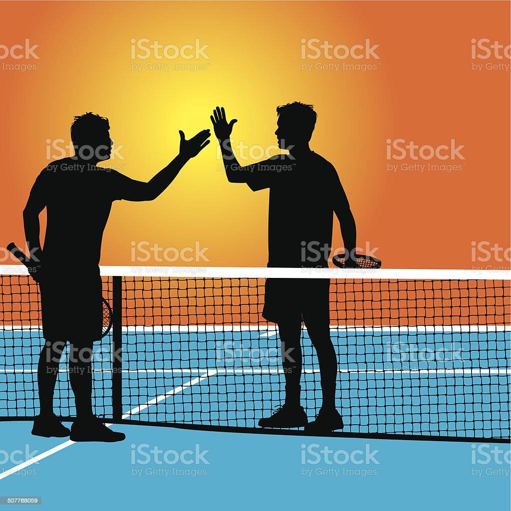 Tennis Match Handshake - Congratulations vector art illustration