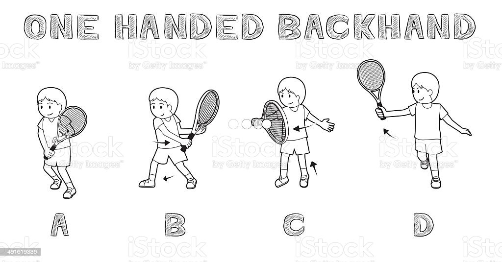Tennis Motion One Handed Backhand Boy Monochrome Vector Illustration vector art illustration