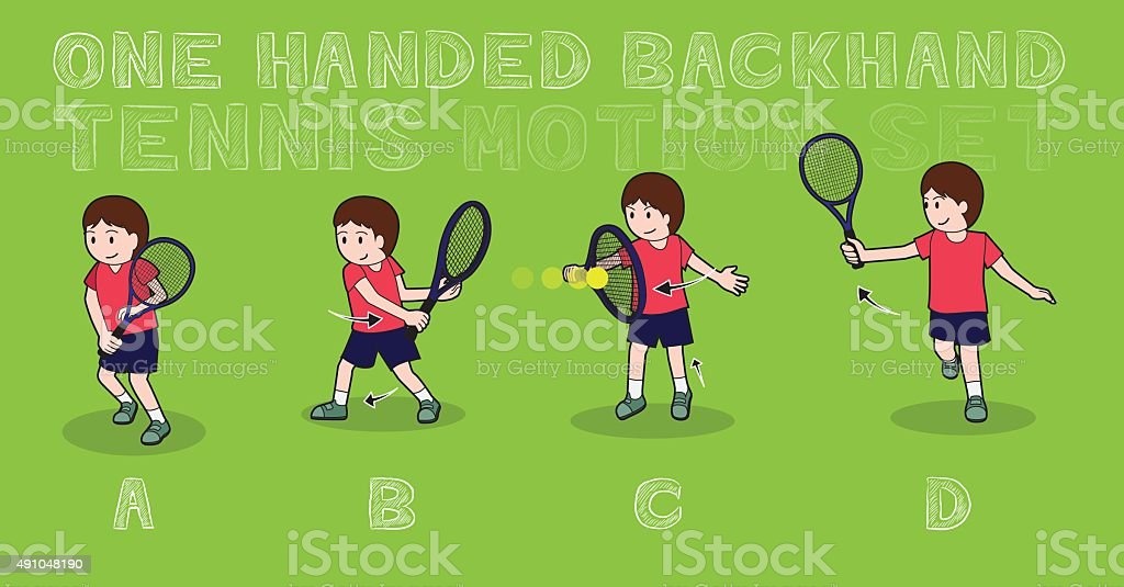 Tennis Motion One Handed Backhand Boy Stroke Vector Illustration vector art illustration