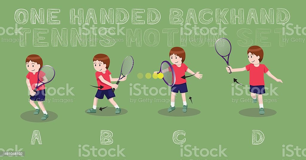 Tennis Motion One Handed Backhand Boy Vector Illustration vector art illustration