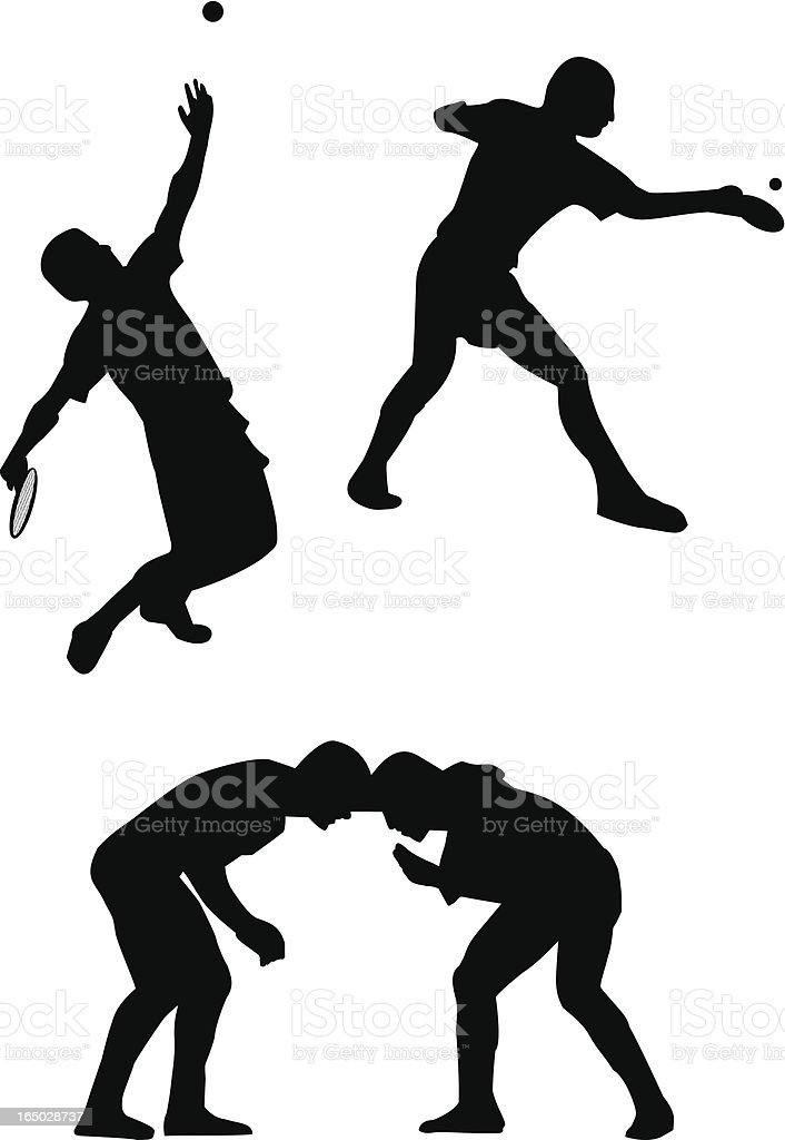 Tennis, ping pong players and wreslers royalty-free stock vector art
