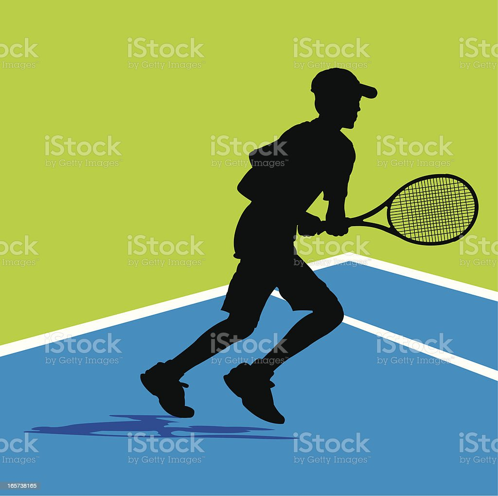 Tennis Player Background - Running Down Ball, Young Male vector art illustration