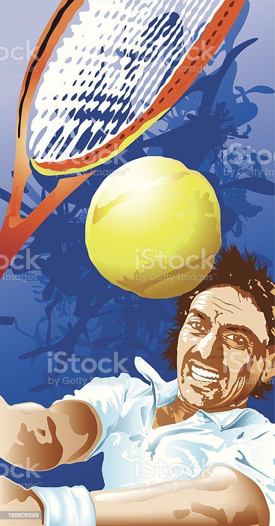 Tennis player hitting the ball vector art illustration