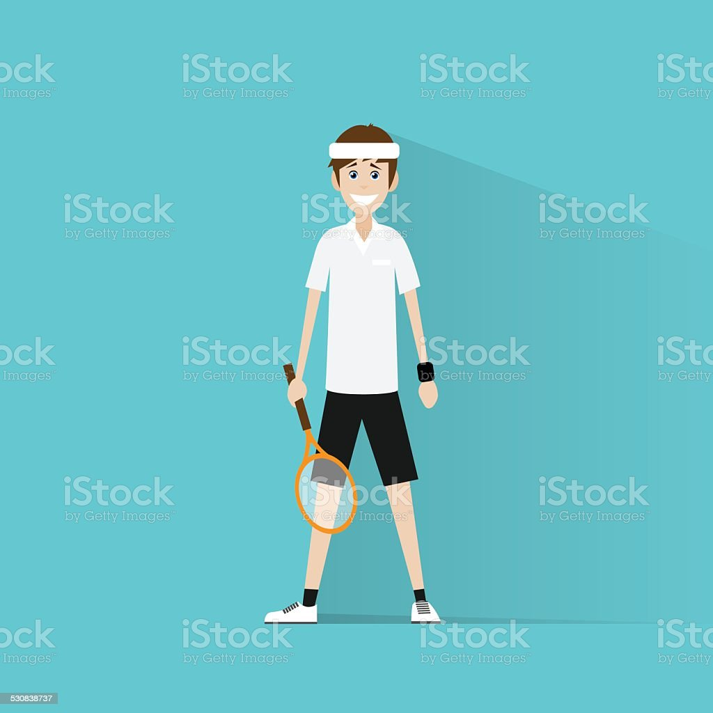 tennis player hold racket flat icon vector vector art illustration