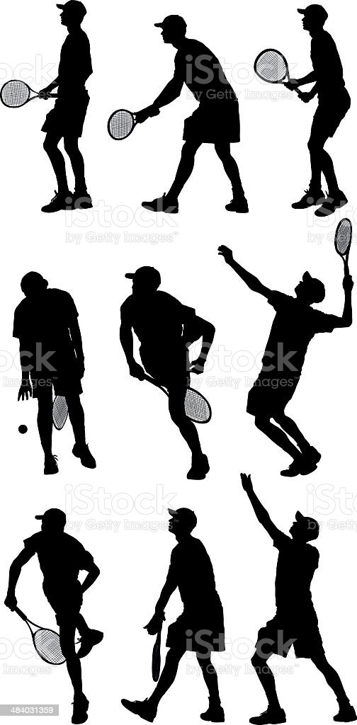Tennis player in action royalty-free stock vector art