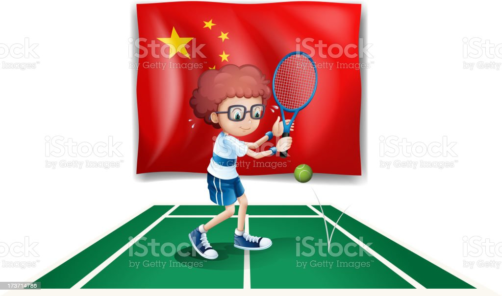 tennis player in front  the flag of China royalty-free stock vector art