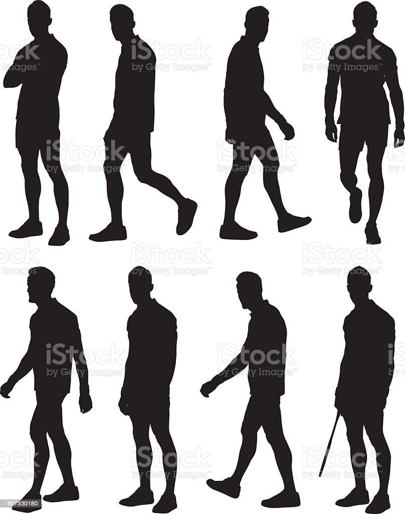 Tennis player in various actions vector art illustration