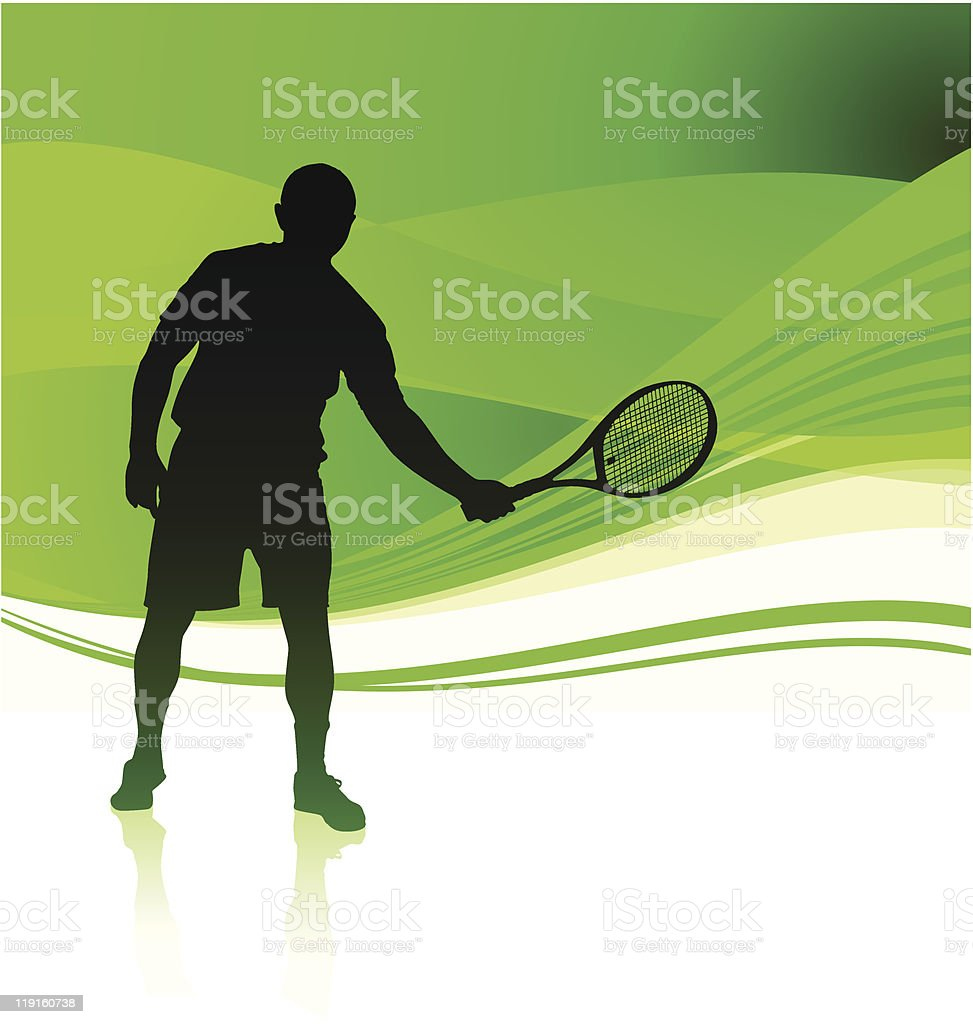 Tennis Player on Abstract Frame Background royalty-free stock vector art