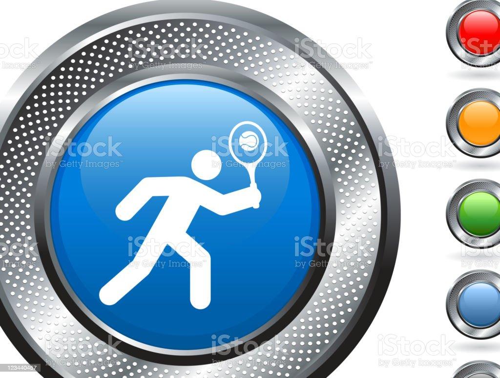 tennis player royalty free vector art on metallic button royalty-free stock vector art