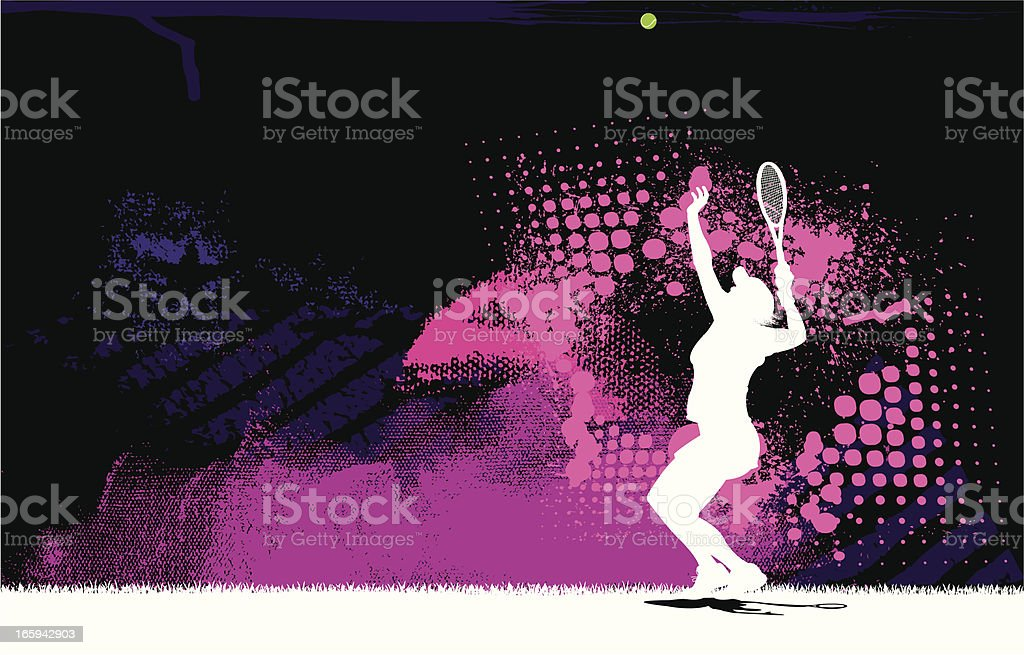 Tennis Player Serve Background - Female vector art illustration