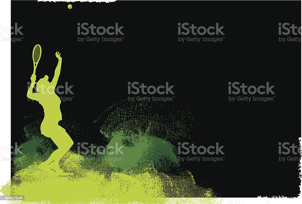 Tennis Player Serve Background - Female royalty-free stock vector art