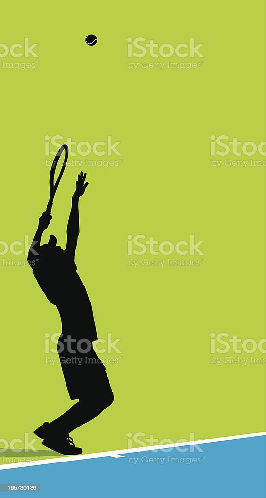 Tennis Player Serving Ball Background - Male vector art illustration
