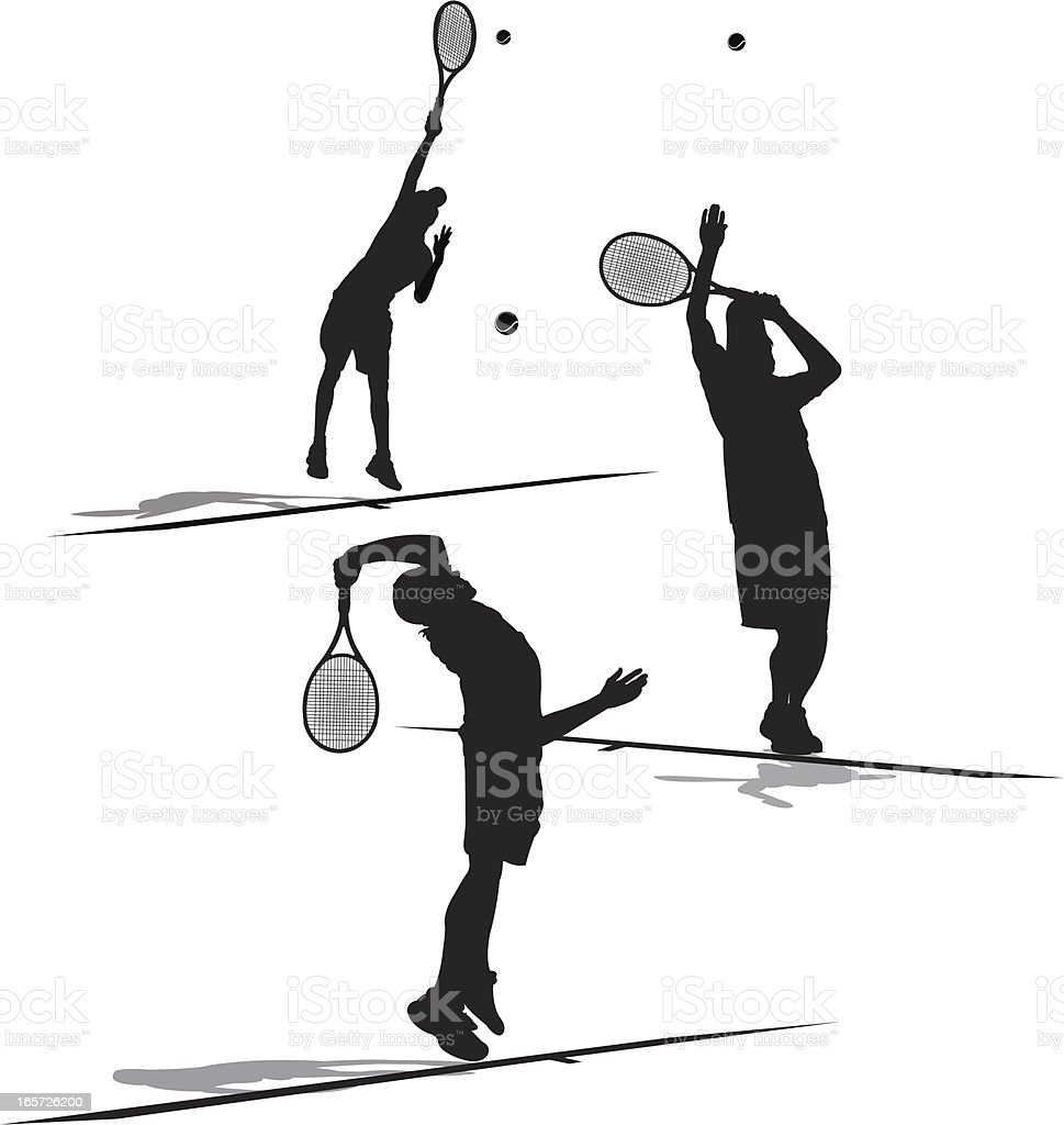 Tennis Player Serving Ball - Male royalty-free stock vector art