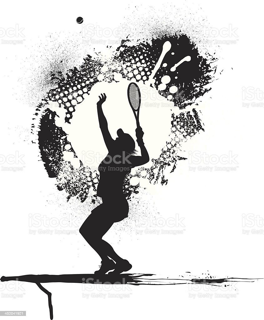 Tennis Player Serving - Female, Grunge Graphic royalty-free stock vector art