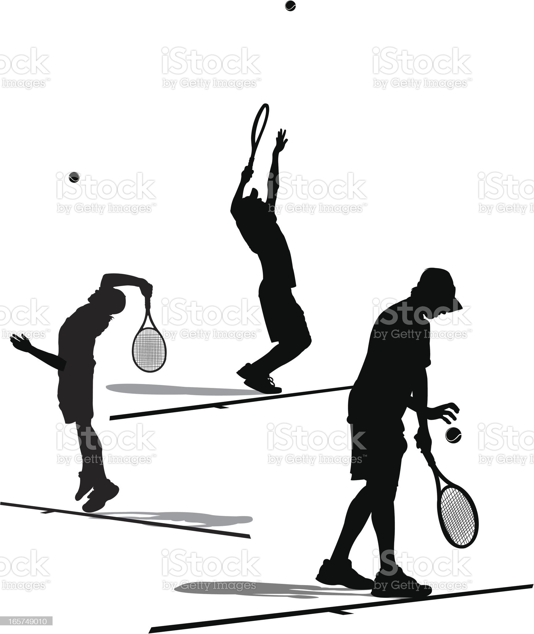 Tennis Player Serving - Silhouette Collection royalty-free stock vector art