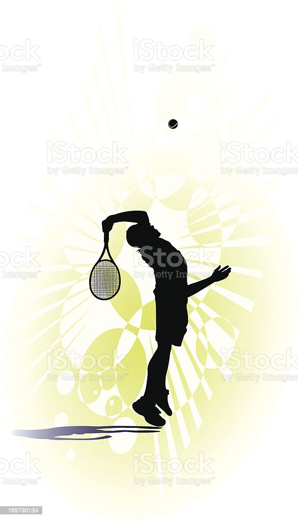 Tennis Player - Serving vector art illustration