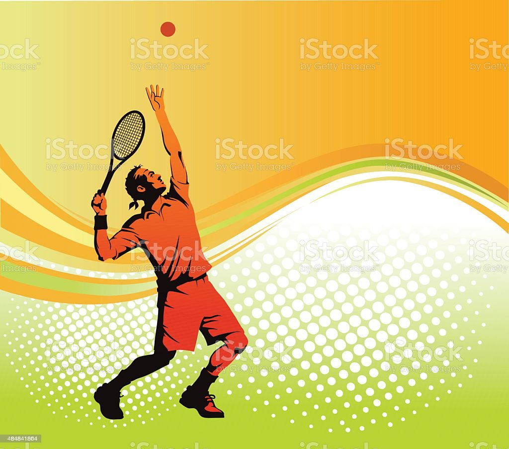 Tennis Player Serving with Background as Copy Space vector art illustration