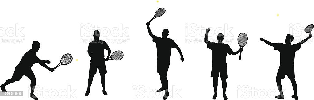 tennis player silhouettes part 2 royalty-free stock vector art